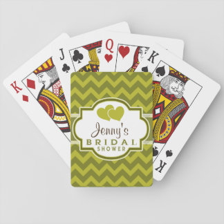 Green Chevron Bridal Shower Playing Cards