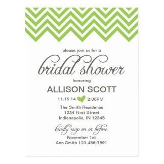 Green Chevron Bridal Shower Postcard