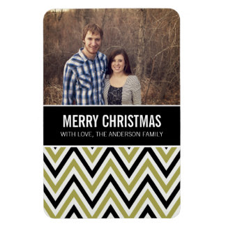 Green Chevron Chic Merry Christmas Photo Magnet