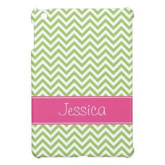Green Chevron Chic Pink Personalized iPad Mini Case