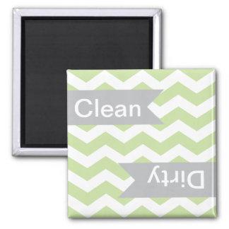 Green Chevron Clean - Dirty Dishwasher Magnets