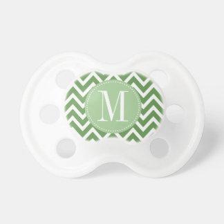 Green Chevron Custom Monogram Baby Pacifiers