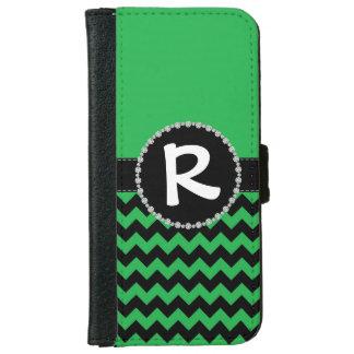 Green Chevron, Diamond Ribbon Flap iPhone 6 Wallet Case