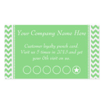 Green Chevron Discount Promotional Punch Card Double-Sided Standard Business Cards (Pack Of 100)