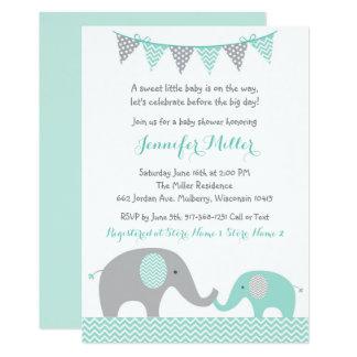 Green Chevron Elephant Baby Shower Card