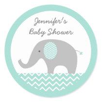 Green Chevron Elephant Baby Shower Classic Round Sticker