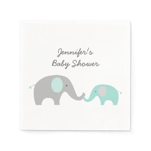 Green Chevron Elephant Baby Shower Napkin