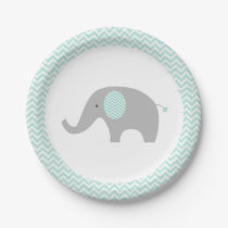 Green Chevron Elephant Baby Shower Paper Plate