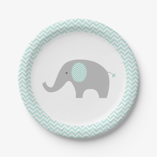 Green Chevron Elephant Baby Shower Paper Plate  sc 1 st  Zazzle & Green Chevron Elephant Baby Shower Paper Plate | Zazzle.com