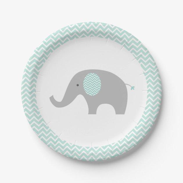 sc 1 st  Zazzle & Green Chevron Elephant Baby Shower Paper Plate | Zazzle.com