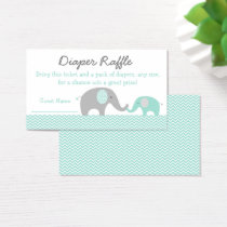 Green Chevron Elephant Diaper Raffle Tickets