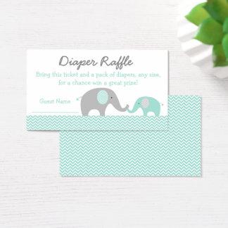 Green Chevron Elephant Diaper Raffle Tickets