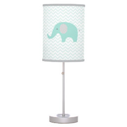 Green Chevron Elephant Nursery Desk Lamp
