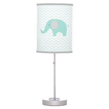 LittlePrintsParties Green Chevron Elephant Nursery Desk Lamp