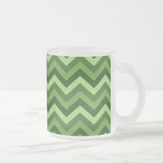 Green Chevron Frosted Glass Coffee Mug