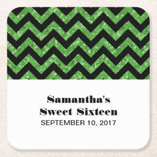Green Chevron Glitter Sweet 16 Paper Coasters Square Paper Coaster