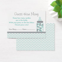 Green Chevron Guess How Many Game Business Card