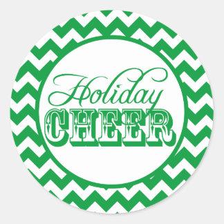Green Chevron Holiday Cheer Sticker