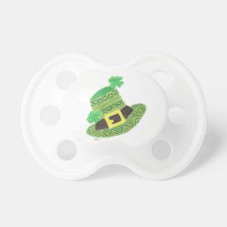 Green chevron leprechaun's hat baby pacifier