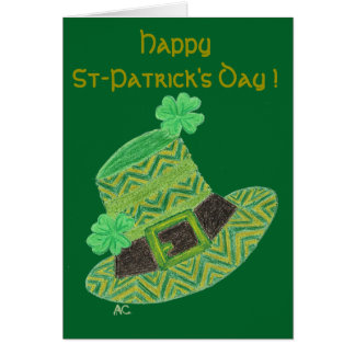 Green chevron leprechaun's hat kids greeting card