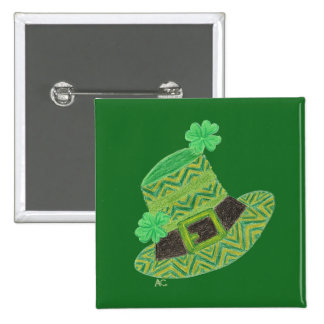 Green chevron leprechaun's hat St-Patrick's day Button