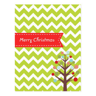 Green Chevron Merry Christmas Postcard