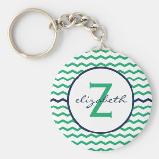 Green Chevron Monogram Keychain