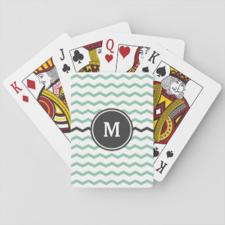 Green Chevron Monogram Playing Cards