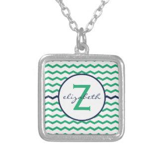 Green Chevron Monogram Square Pendant Necklace