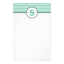 Green Chevron Monogram Stationery