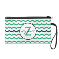 Green Chevron Monogram Wristlet Purse