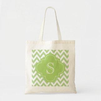 Green Chevron Moroccan Monogram Canvas Bag