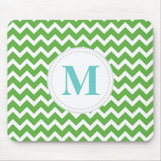 Green Chevron Mouse Pad