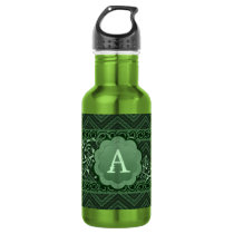 Green Chevron on Burlap with Monogram Stainless Steel Water Bottle