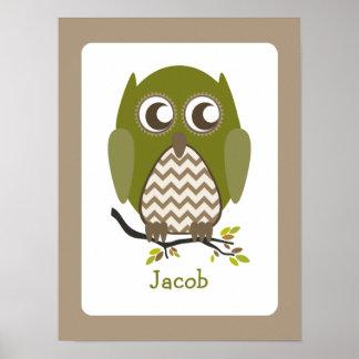 Green Chevron Owl Personalized Nursery Artwork Print