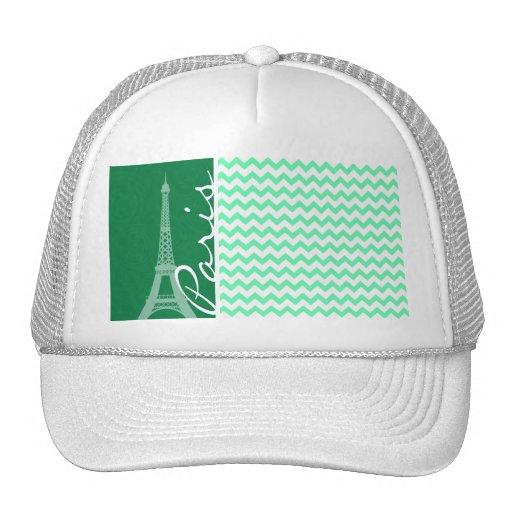 Green Chevron; Paris Hat