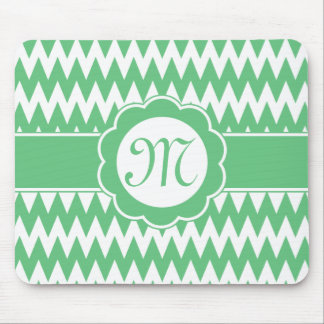Green Chevron Pattern & Monogram Flower Mouse Pad