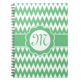 Green Chevron Pattern & Monogram Flower Notebook