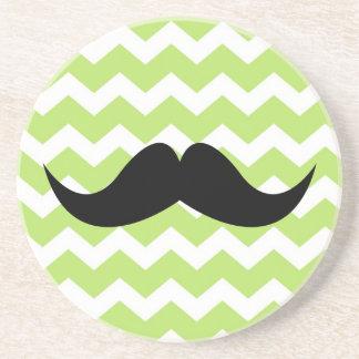 Green chevron pattern mustache thirsty sandstone coasters
