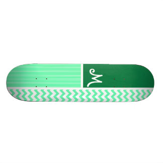 Green Chevron Pattern Skate Board Deck