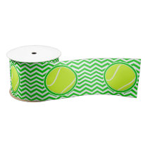 Green Chevron Pattern Tennis Ball Party Ribbon