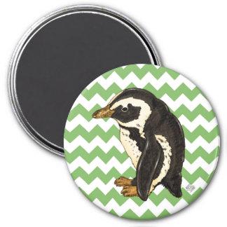 Green chevron penguin fridge magnet