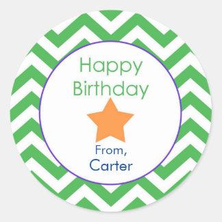 Green Chevron Personalized Birthday Gift Sticker