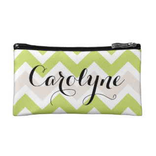 Green Chevron | Personalized Cosmetic Bag at Zazzle