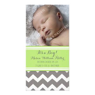 Green Chevron Photo New Baby Birth Announcement