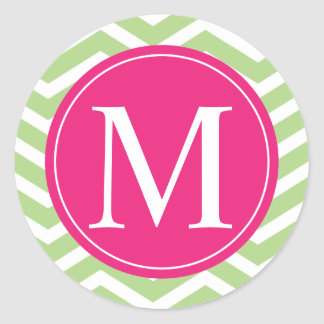 Green Chevron Pink Monogram Classic Round Sticker