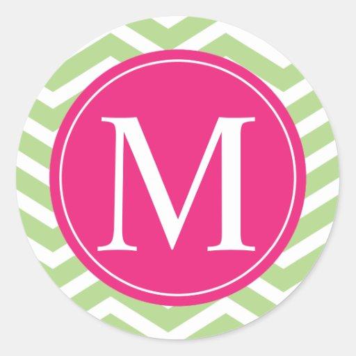 Green Chevron Pink Monogram Sticker