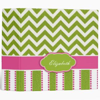 Green Chevron, Pink Stripes Binder