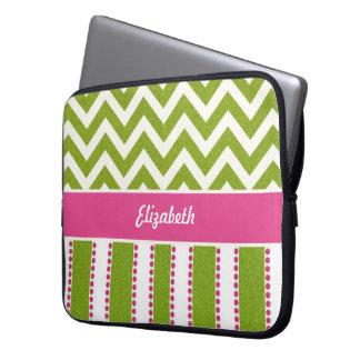 Green Chevron, Pink Stripes Laptop Sleeve