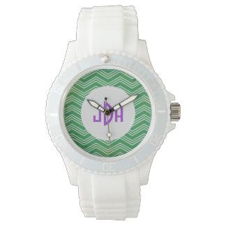 Green Chevron Purple Custom Monogram Sport Watch